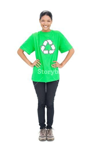 Cheerful black haired model wearing recycling tshirt
