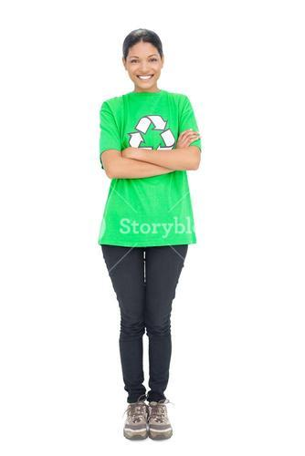 Happy black haired model wearing recycling tshirt