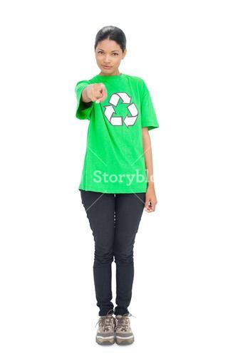 Pretty black haired model wearing recycling tshirt pointing at camera