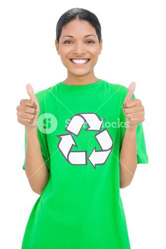 Smiling model wearing recycling tshirt giving thumbs up