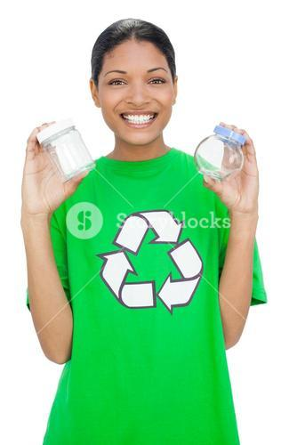 Cheerful model wearing recycling tshirt holding pots