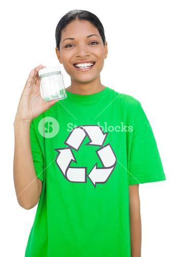 Happy model wearing recycling tshirt holding pot