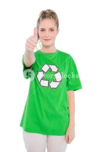 Pretty blonde activist wearing recycling tshirt giving thumb up