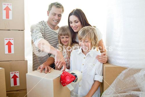 Merry family packing boxes