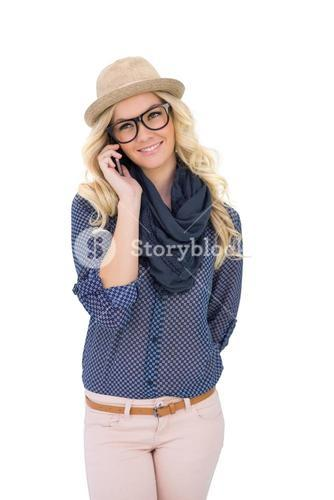 Happy trendy blonde on the phone