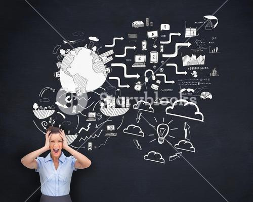 Screaming businesswoman worrying about white graphics