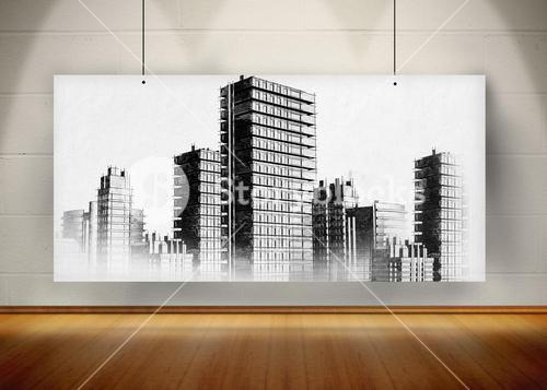 Picture of black and white city painted on screen