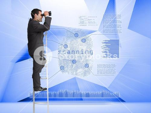 Businessman looking through binoculars to holographic finger print