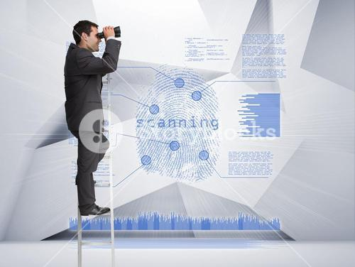 Businessman looking through binoculars to blue holographic finger print