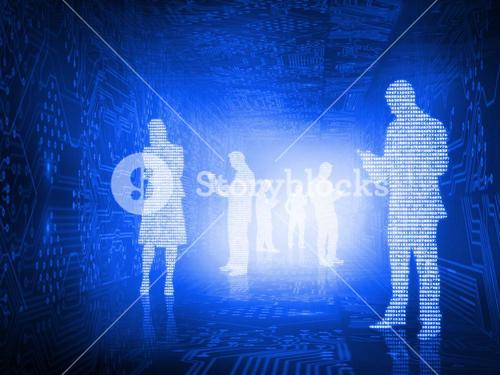 Glowing silhouettes of business people