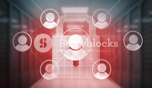 Digitally generated social media icons over lock in red light