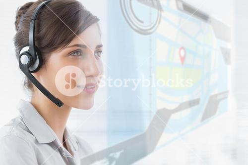 Pleased call center employee using futuristic street map interface