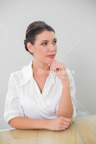 Pensive brown haired businesswoman posing