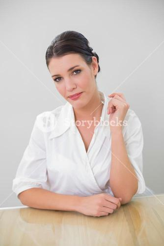 Gorgeous brown haired businesswoman posing