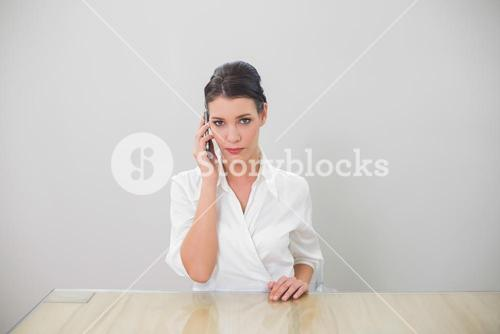 Serious brown haired businesswoman on the phone