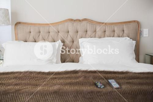 Comfortable double bed in an hotel room