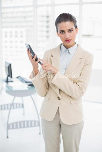 Serious smart brown haired businesswoman using a calculator