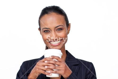 Businesswoman drinking a hot coffee