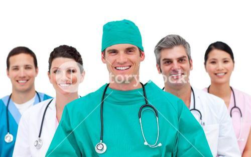 Medical team against a white background