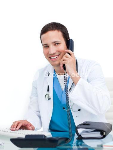 Smiling doctor calling