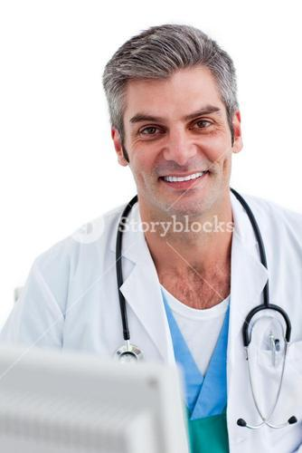 Portrait of a smiling doctor in his office