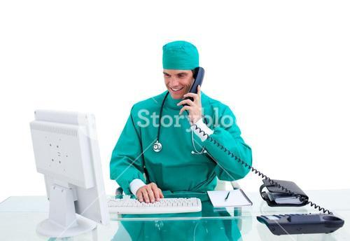 Isolated doctor in his office calling