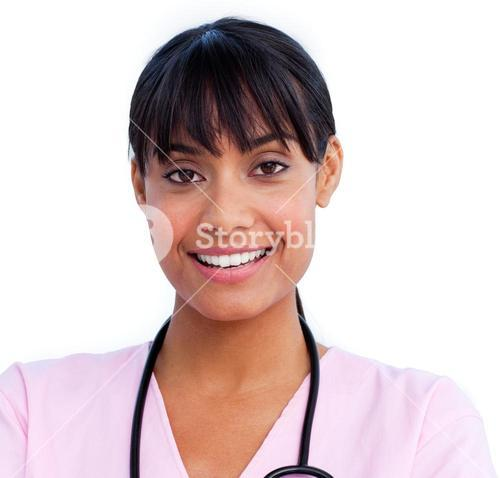 Cheerful female nurse smiling at the camera