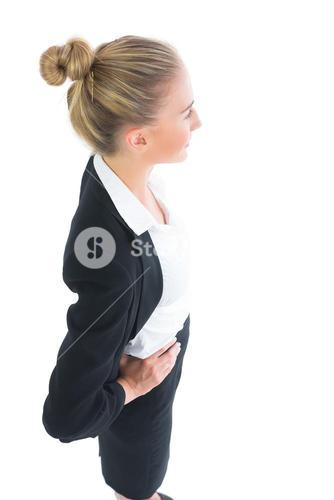 High angle profile view of gorgeous businesswoman posing