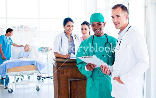 Portrait of a serious medical team at work