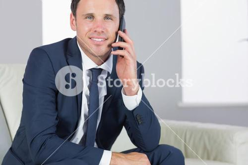 Smiling handsome businessman phoning and sitting on couch