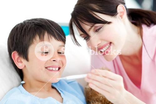 Positive nurse and his patient looking at a thermometer