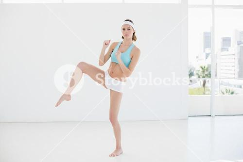 Attractive sporty woman doing sports exercise in sports hall