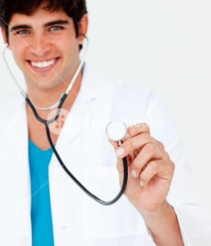 Close up of a young doctor with a stethoscope