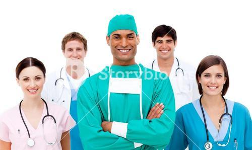 Doctors against a white background