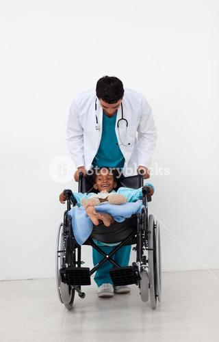 Doctor helping a sick child