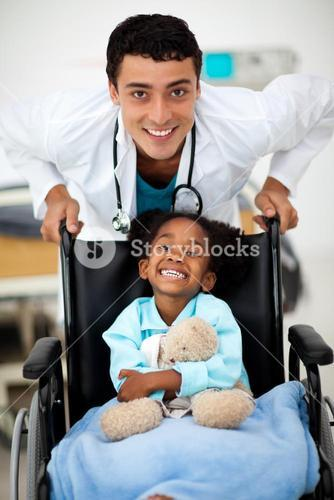 Young child being cared for by a doctor