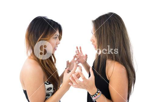 Two pretty sisters arguing