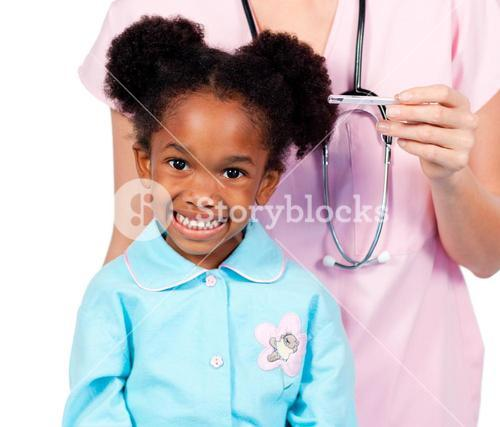 Close up of an little girl attending medical checkup