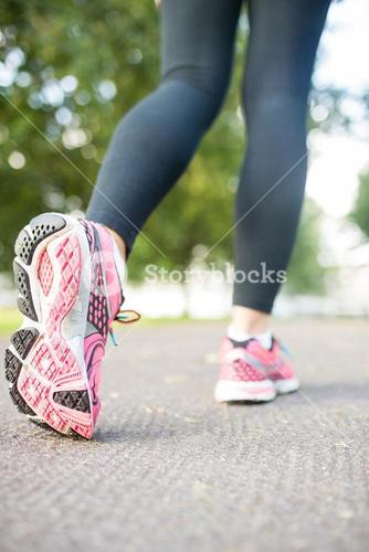 Close up picture of pink running shoes