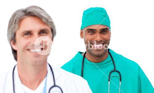 Charismatic male doctors standing in a line