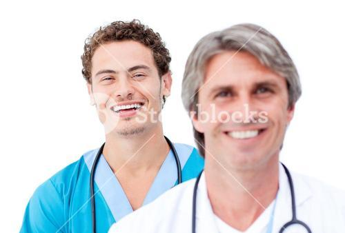 Confident doctors smiling at the camera