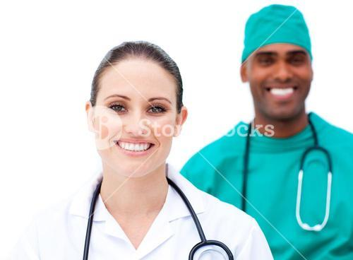 Charismatic doctors standing in a row