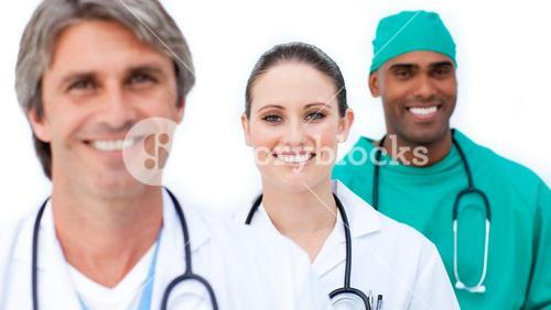 Selfassured medical team standing