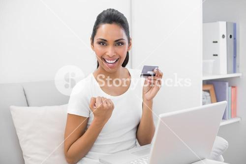 Beautiful successful woman home shopping with her notebook