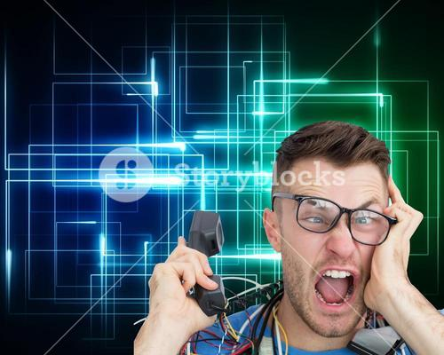 Frustrated computer engineer screaming while on call
