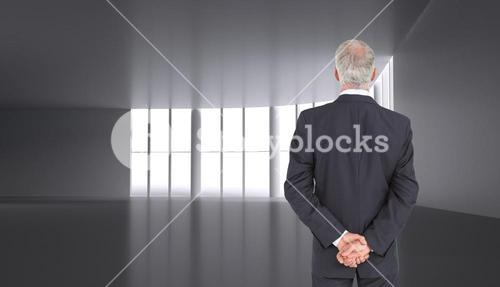 Rear view of serious businessman posing