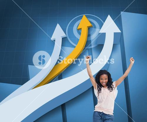 Happy woman with her arms raised up in front of arrows and statistic