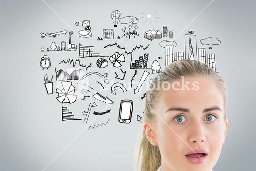 Surprised businesswoman looking at camera