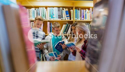 Students reading book in the college library