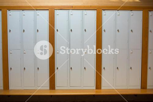 Closed lockers in a row at the college